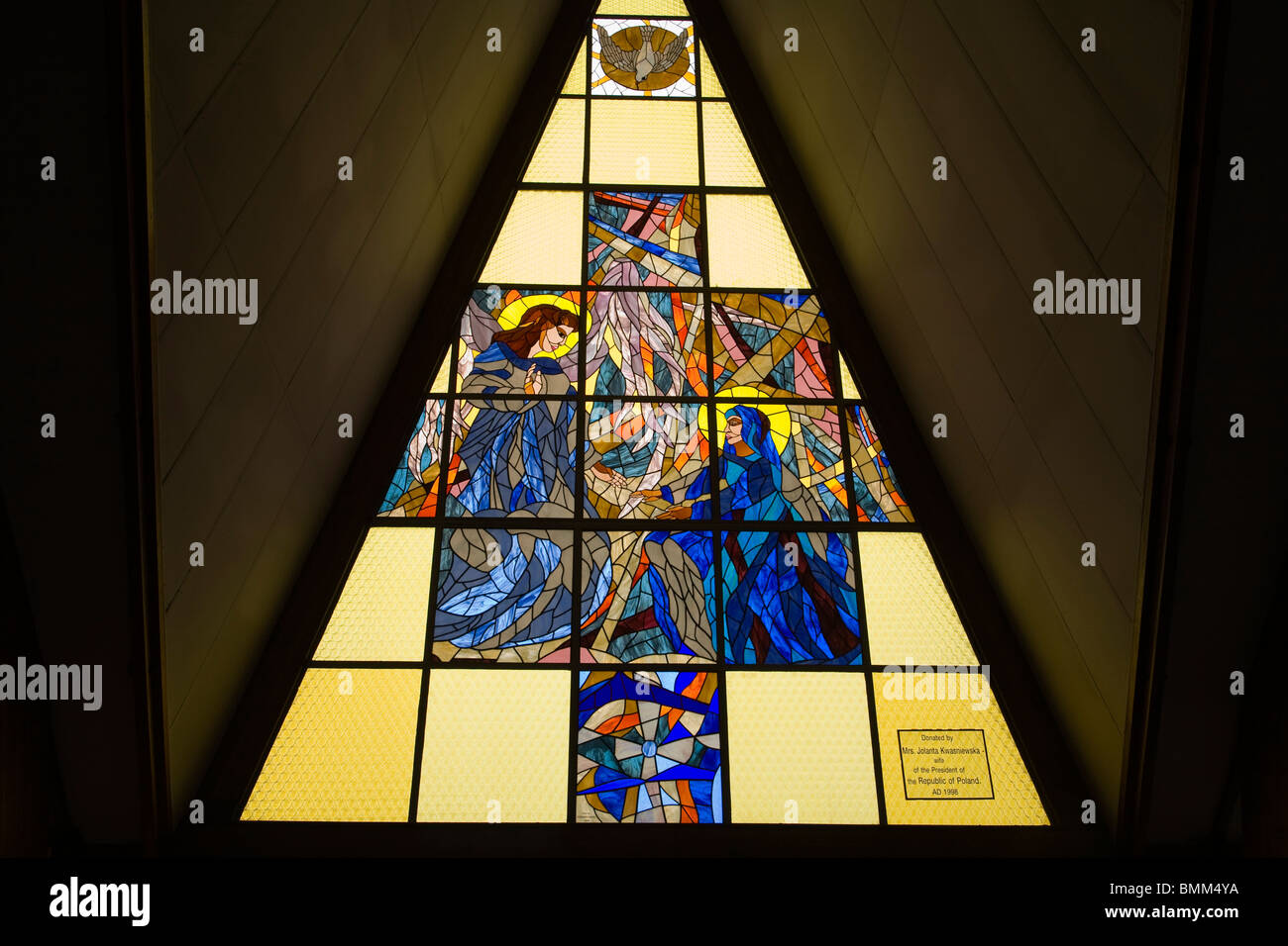 South Africa, Johannesburg. Stained glass window at Regina Mundi Church, Soweto Stock Photo