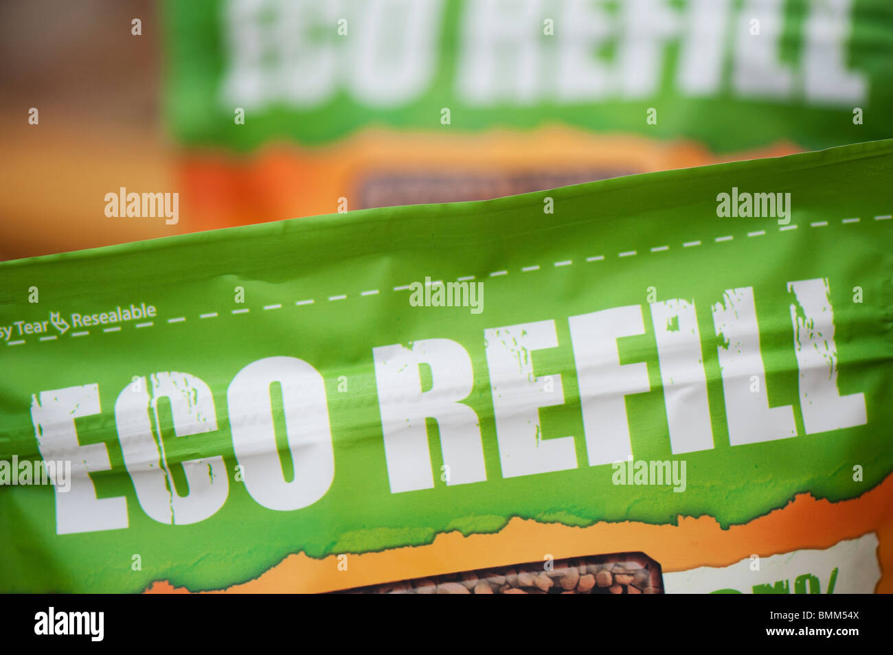 Eco Refill food packet label designed to save landfill waste. UK - Stock Image