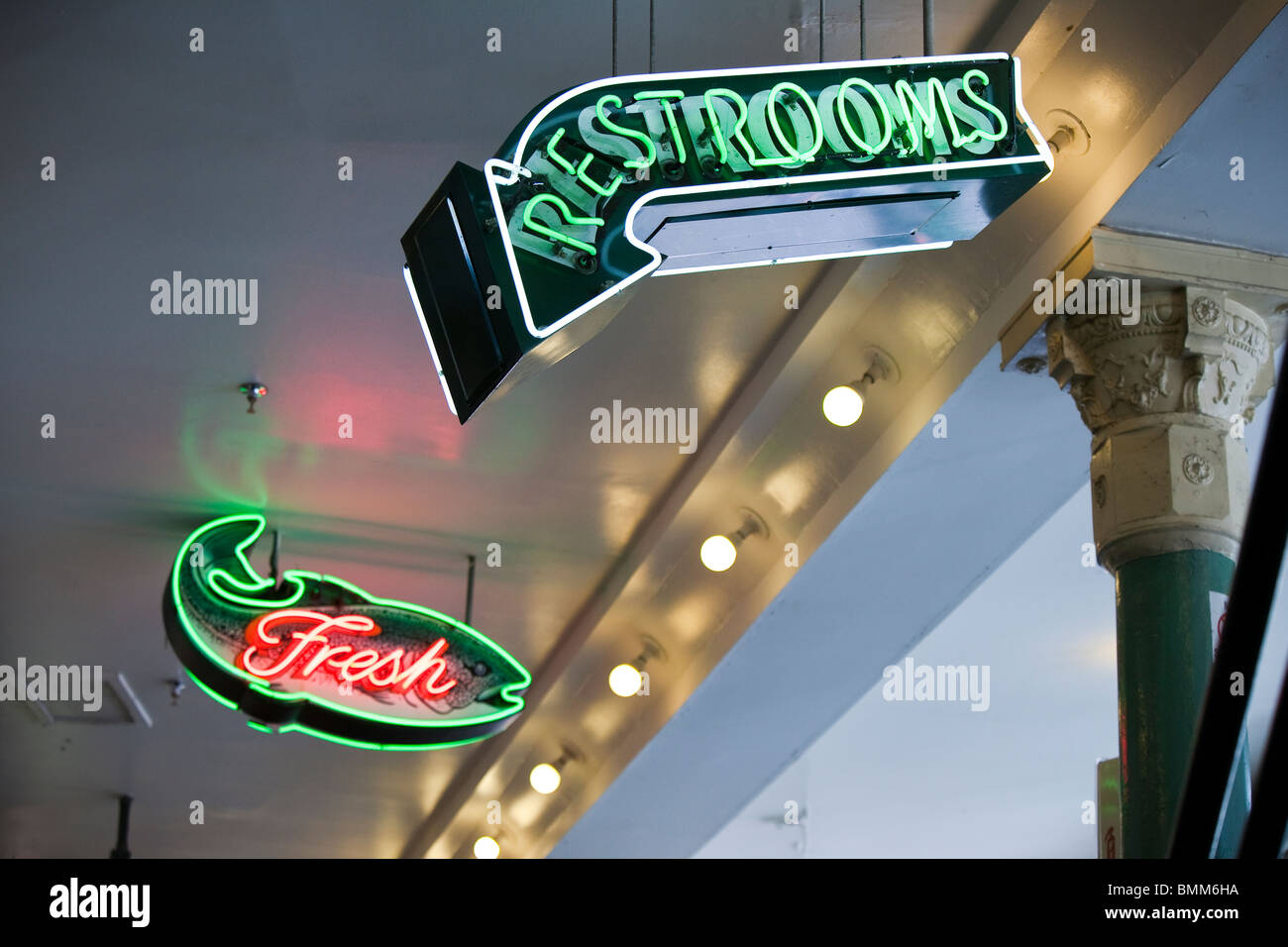 Neon Signs at Pike Place Market - Seattle, Washington - Stock Image