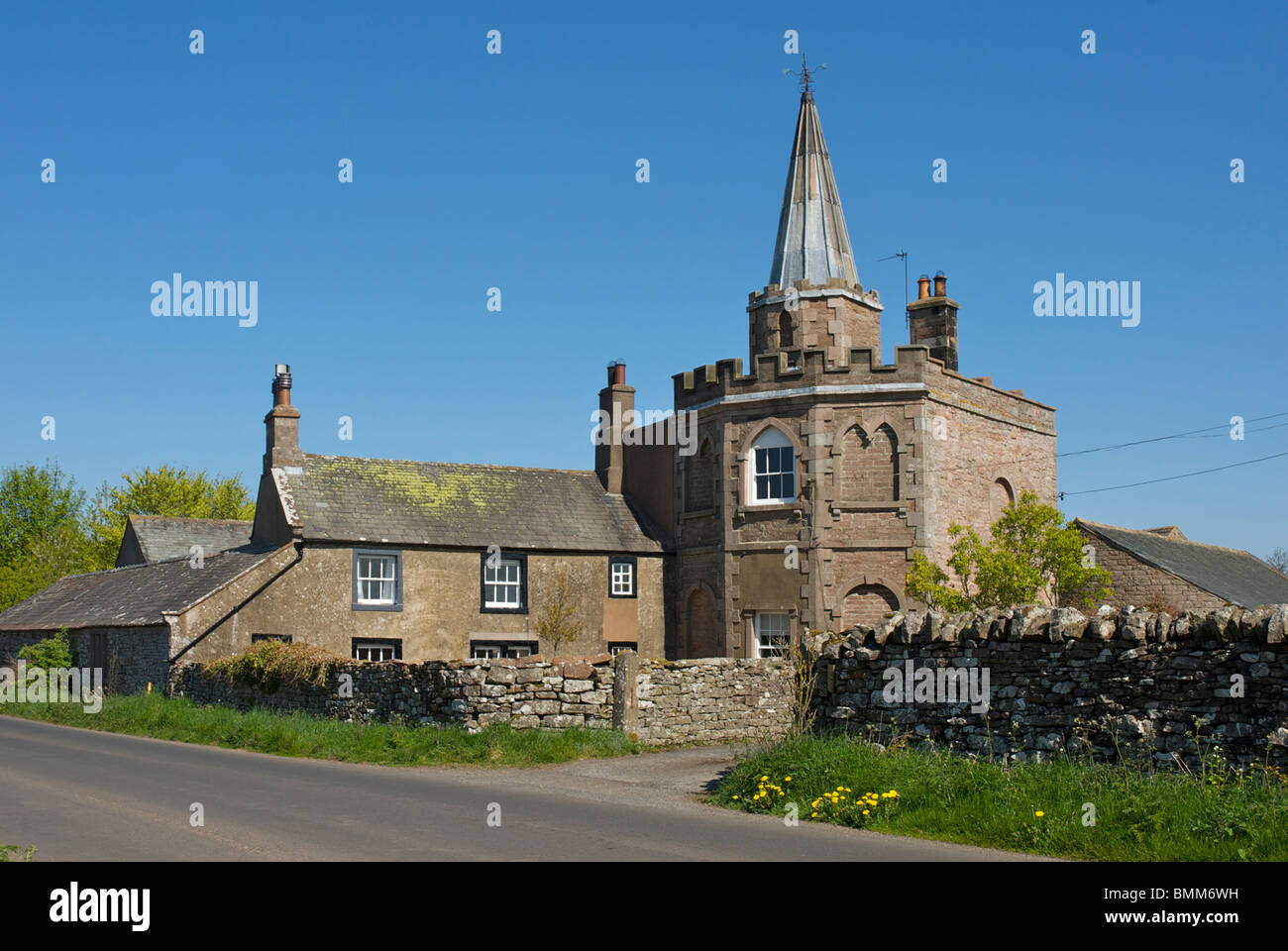 Spire House, a 'folly' built about 1780, near Greystoke, Cumbria, England UK - Stock Image