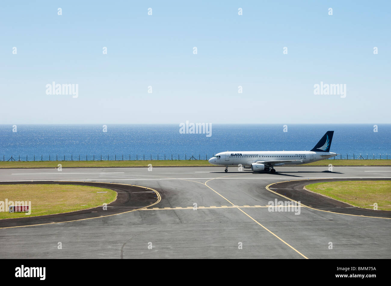Jetliner of Sata International ready for takeoff in Faial airport, Azores - Stock Image