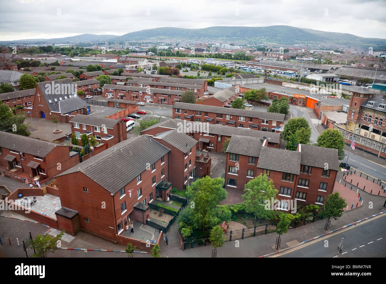 Aerial View of new Sandy Row in South Belfast. This area was traditionally a staunchly Protestant/Loyallist working - Stock Image