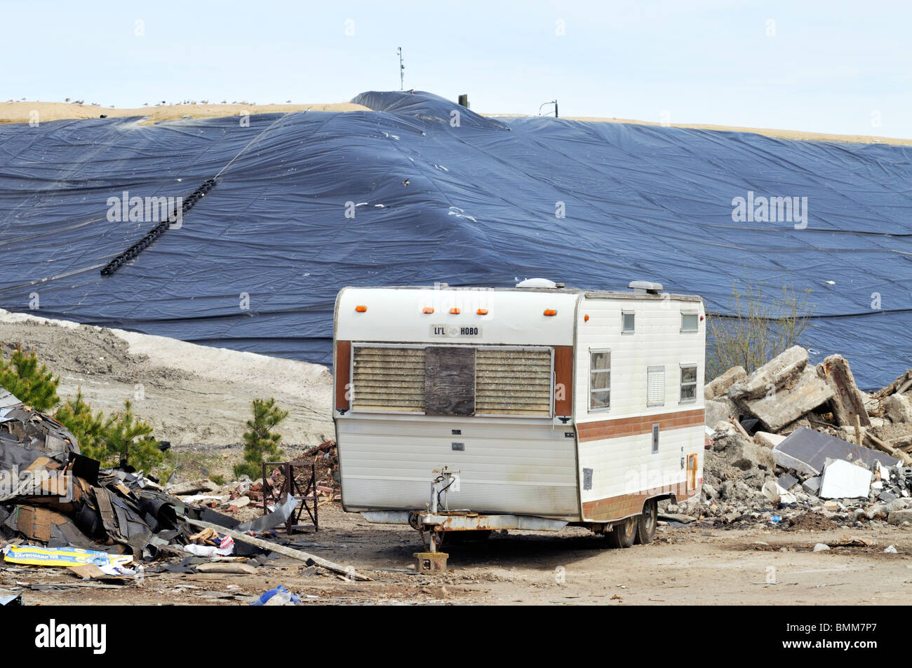 Old trailer at landfill in Bourne Massachusetts USA - Stock Image