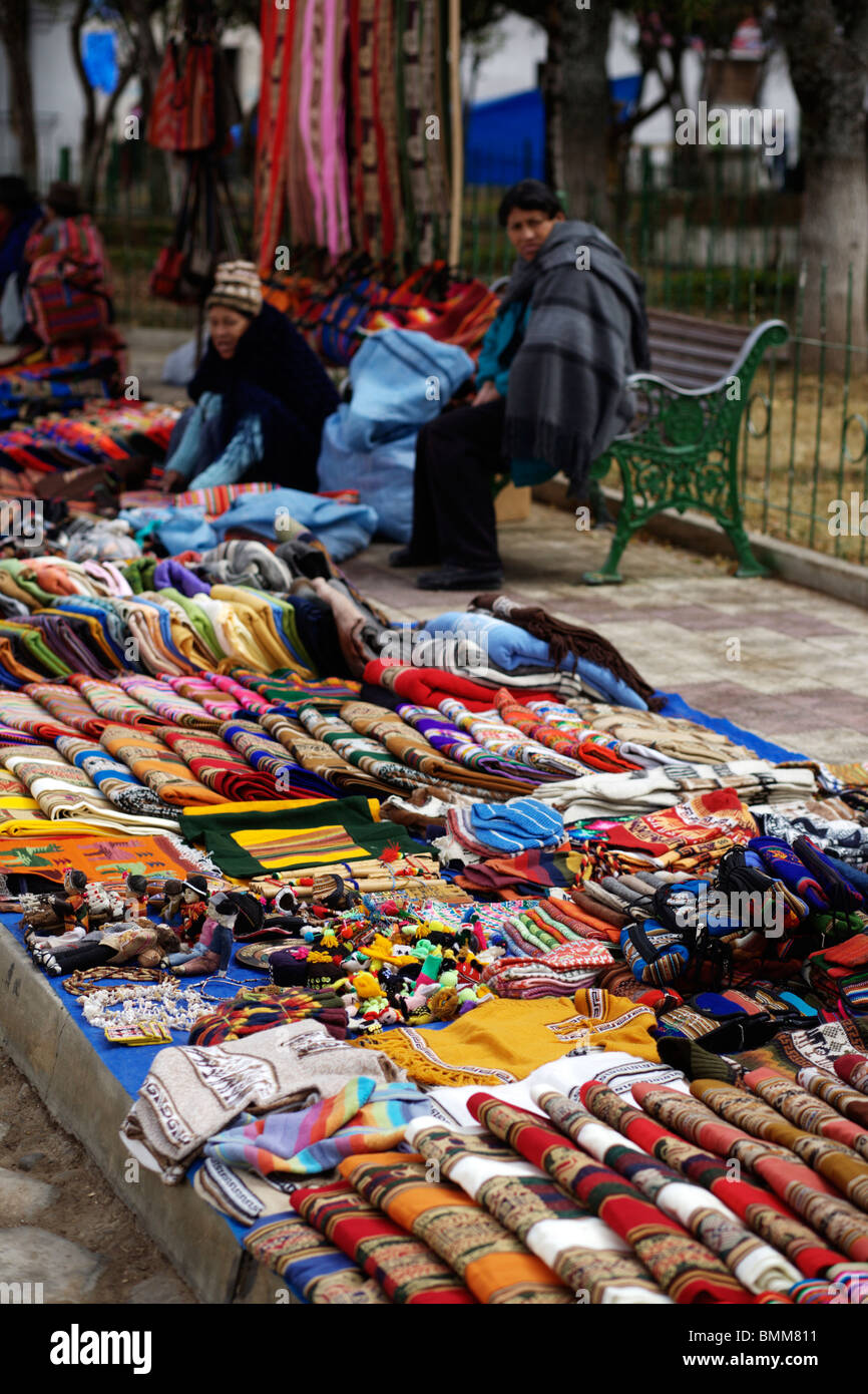 55e013595d9 Textiles and handicrafts on sale at the Tarabuco market held every Sunday  near Sucre in Bolivia