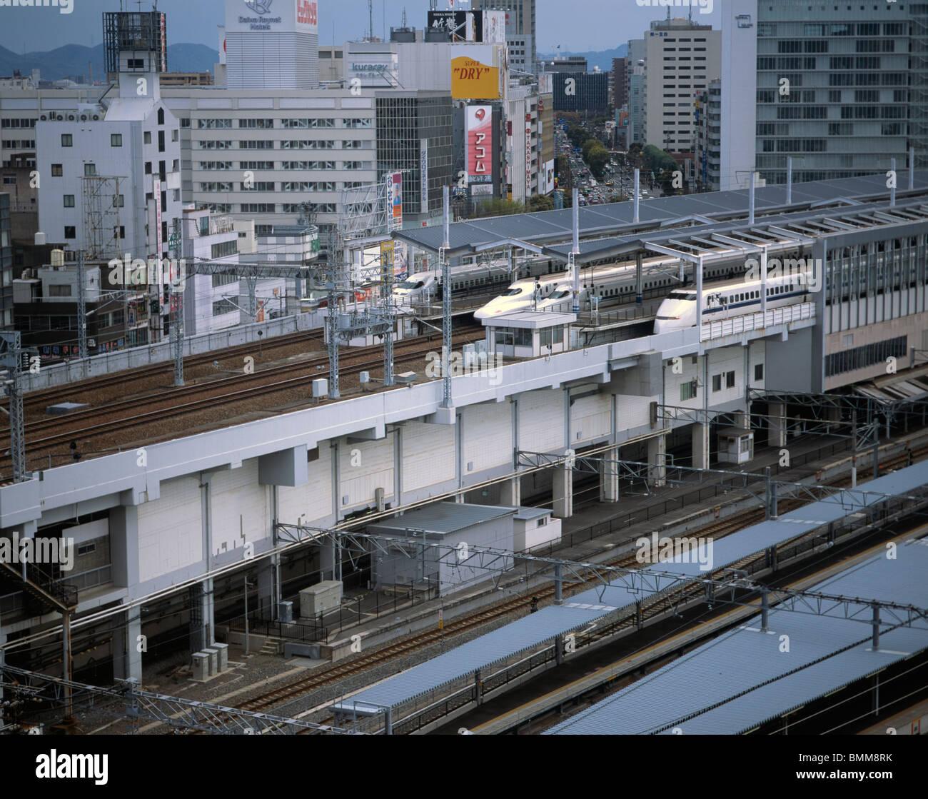 Shinkansen Bullet Trains Okayama Station Japan - Stock Image