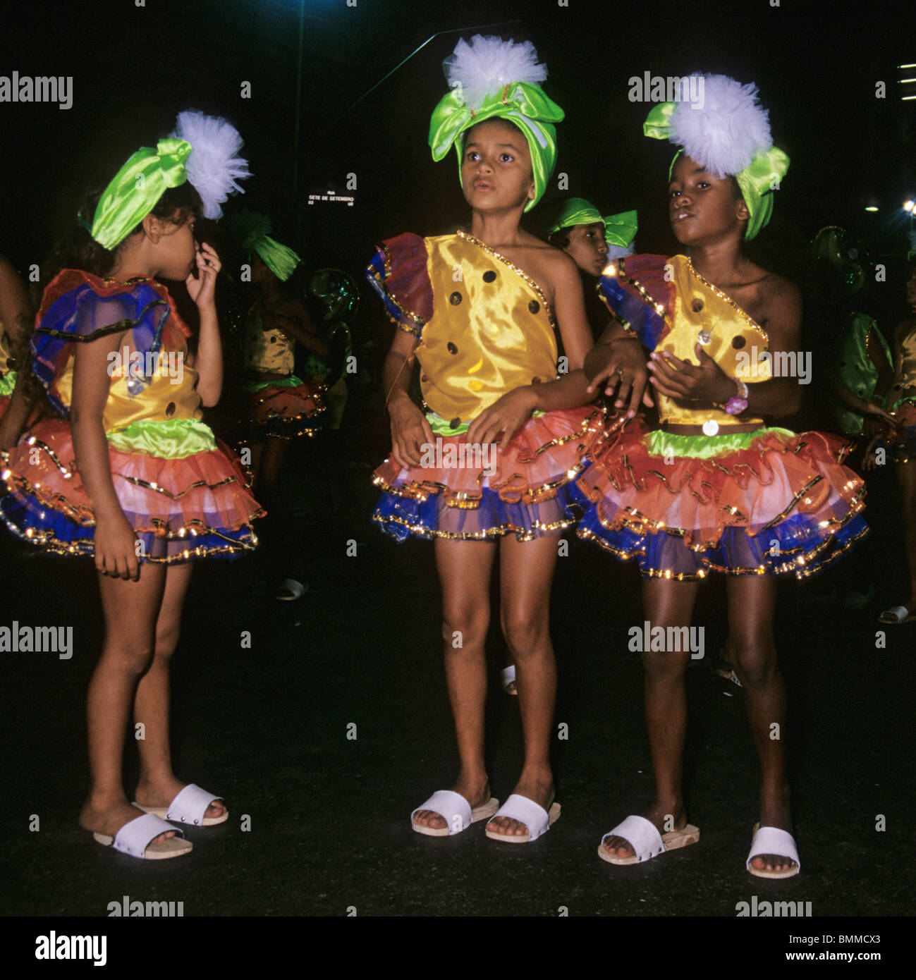 young girls with carnival costumes at night - Rio de Janeiro