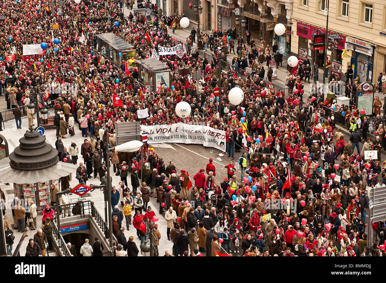 'March for Life' demonstration against current Spanish abortion laws, March 7th, Madrid, Spain. - Stock Image