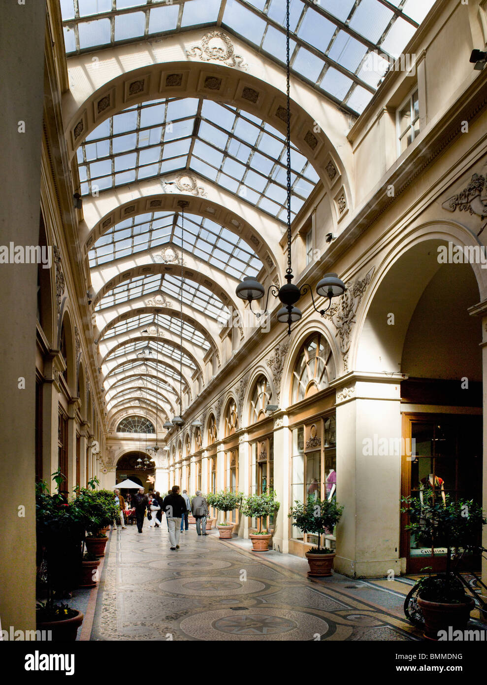 Galerie Vivienne, Paris, France. Shopping arcade, glazed roof and mosaic floors,  constructed in 1823-6 by Marchoux Stock Photo