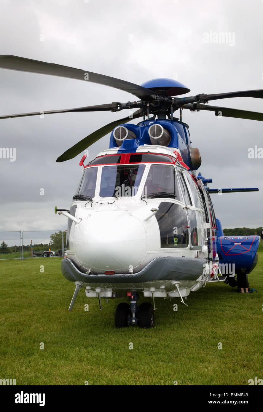EC 225 Helicopter, Super Puma Mk II,  Bristow Aircraft, Aberdeenshire, Scotland, UK - Stock Image