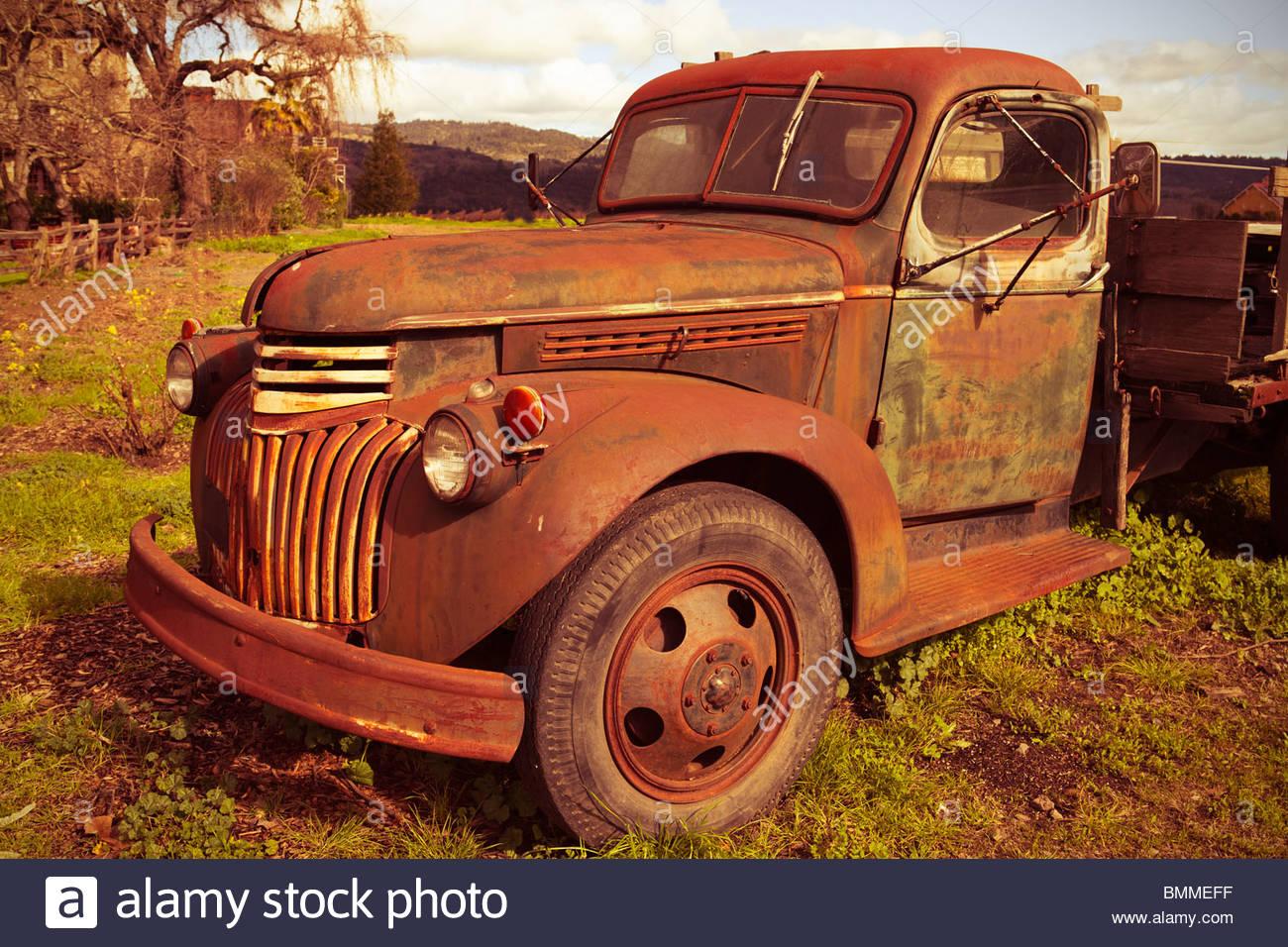 Cross processed rusty truck - Stock Image