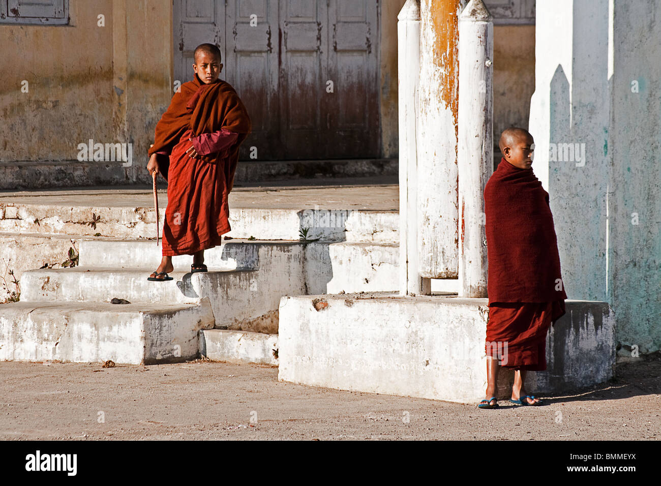 Two young contemplative monks at a monastery in Kalaw, Myanmar (Burma). - Stock Image