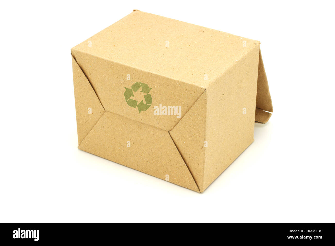 Recycle symbol printed on underside of empty carton box - Stock Image