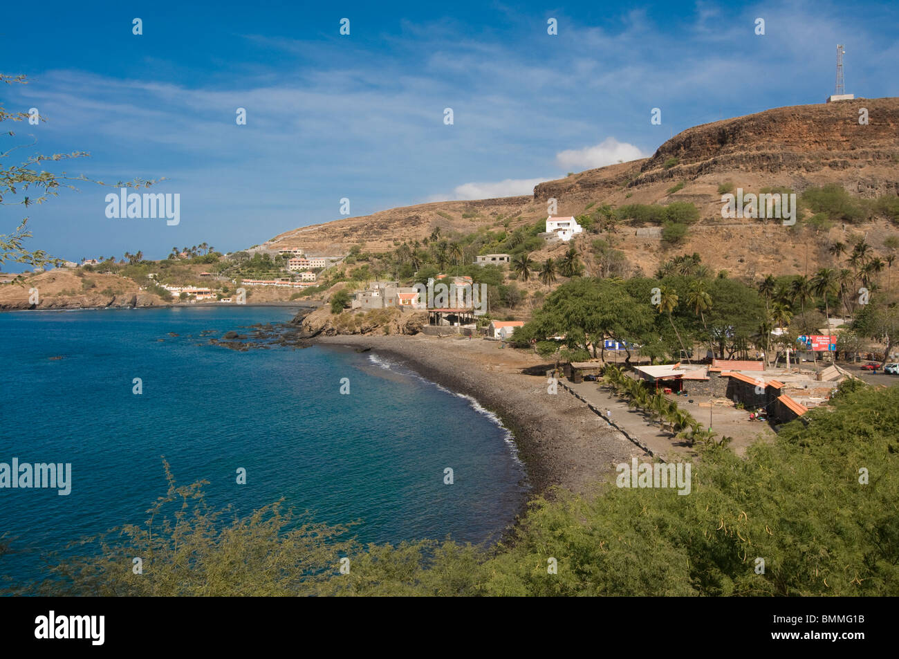 View over Ciudad Velha and the coast. Cidade Velha. Santiago. Cabo Verde. Africa. Stock Photo