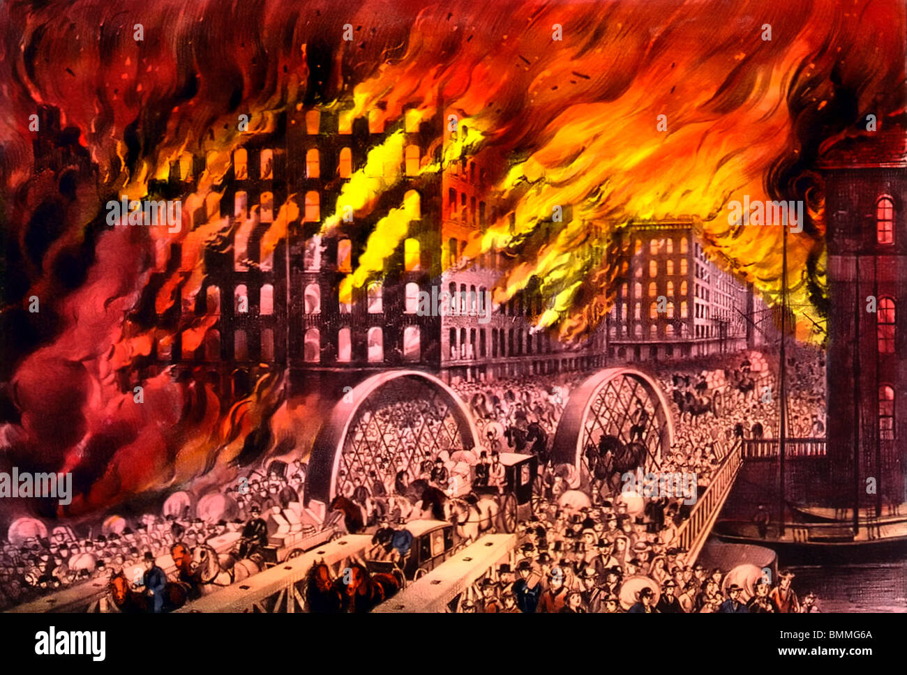 Chicago in flames: Scene at Randolph Street Bridge - The Great Chicago FIre October 10, 1871 - Stock Image