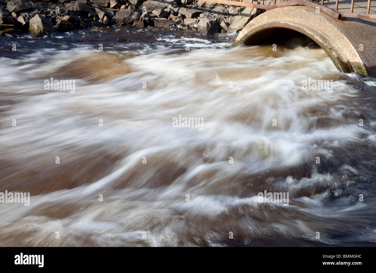 Flooded culvert - Stock Image