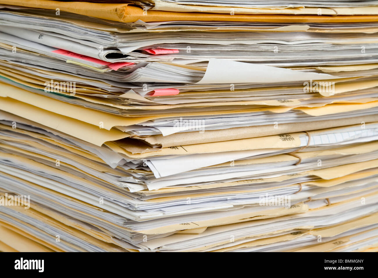 File Stack, file folder close up for background - Stock Image