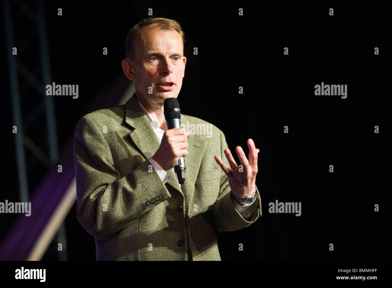 Andrew Marr BBC political journalist pictured speaking on stage at Hay Festival 2010 Hay on Wye Powys Wales UK - Stock Image