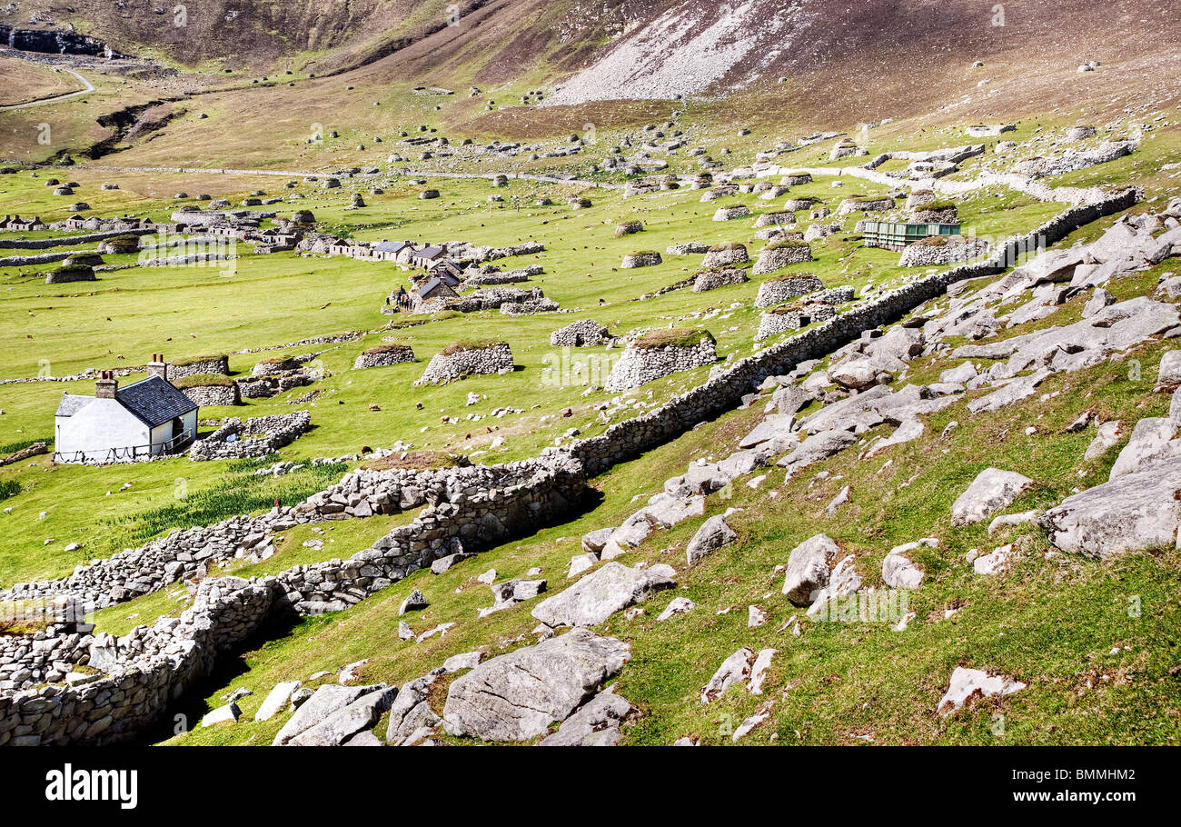 A view of the main street and head dyke at Village Bay on the Isle of St. Kilda - Stock Image