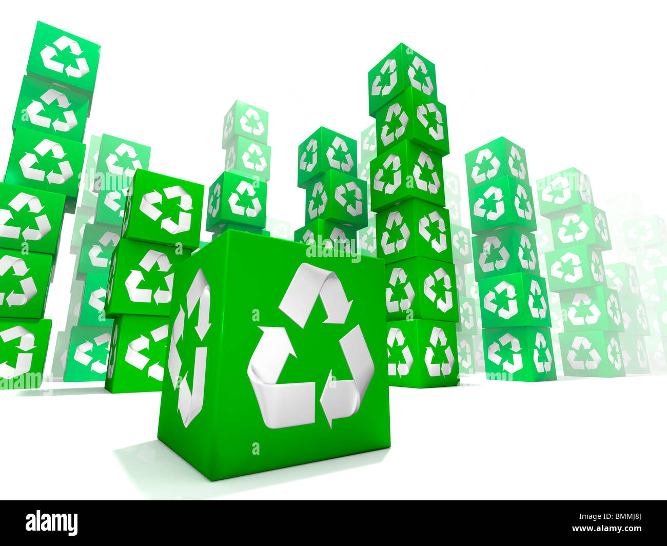 This is a many box stacking with white and green recycle sign on each face - Stock Image