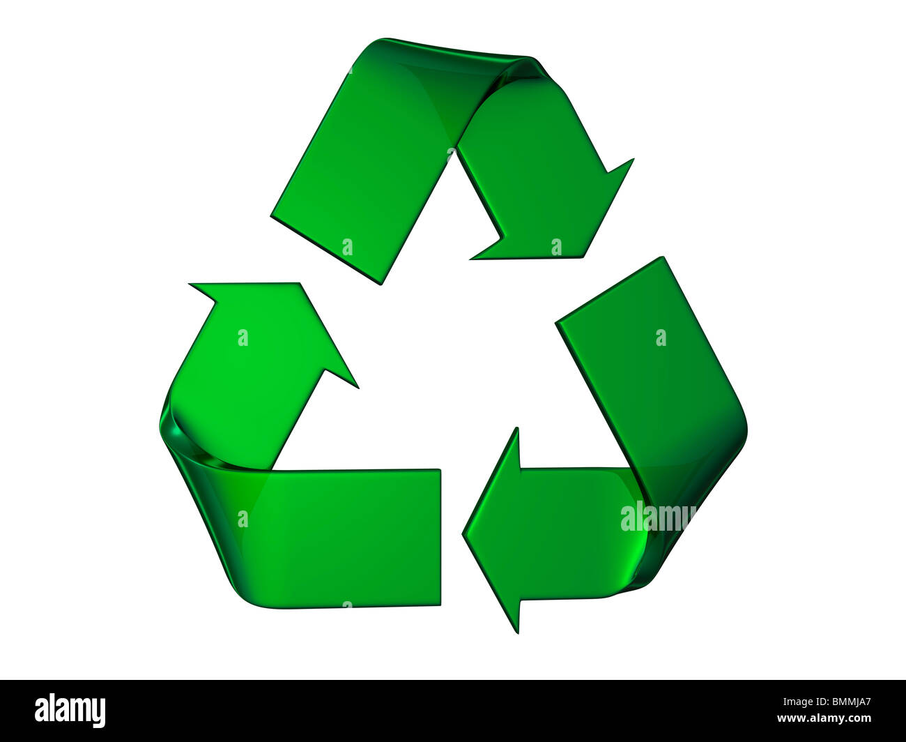 It's a big green and relief recycle's logo on a white background - Stock Image