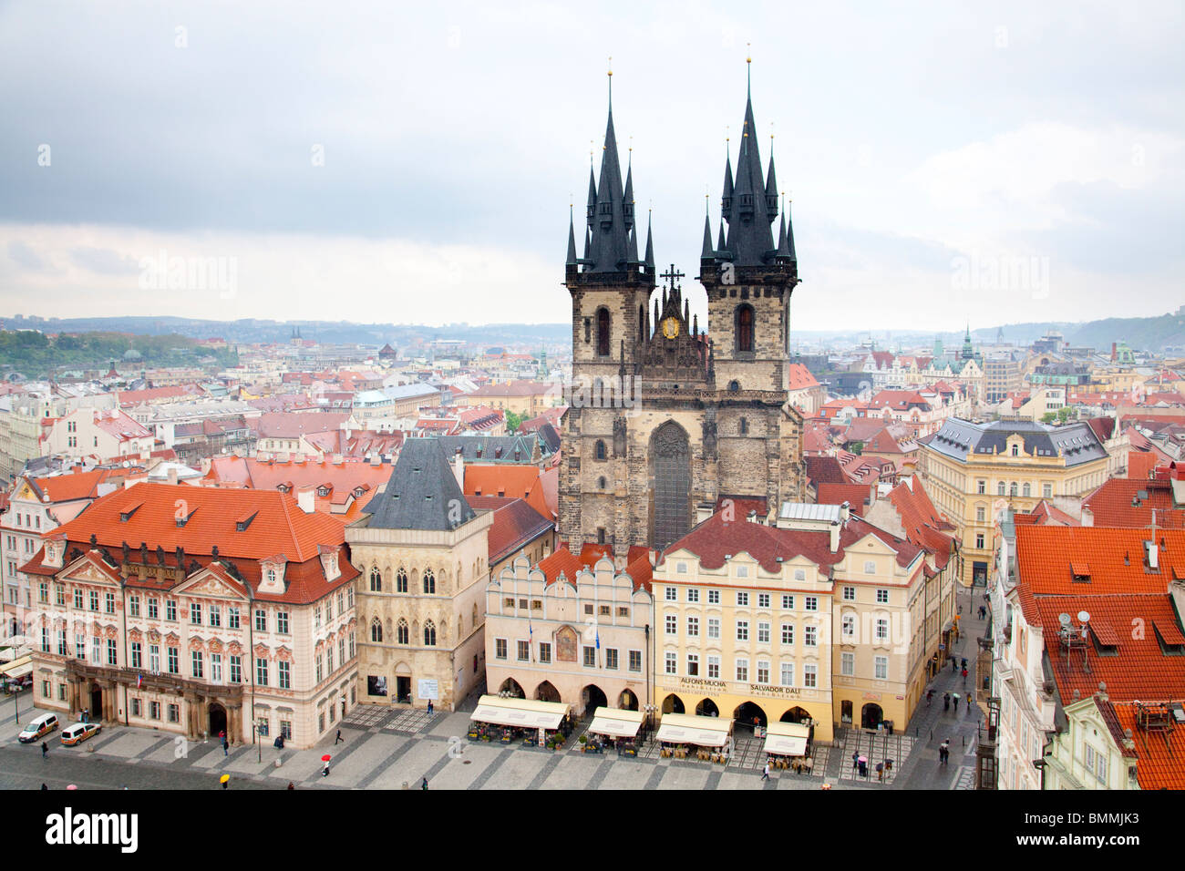 Old town square seen from the tower of the old Town Hall, Prague Czech Republic 2010 - Stock Image
