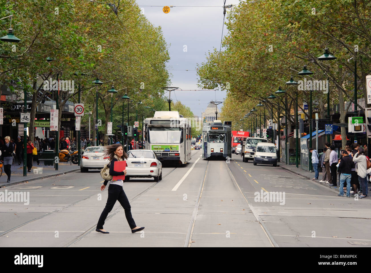 Swanston Street and Shrine of Remembrance - Stock Image