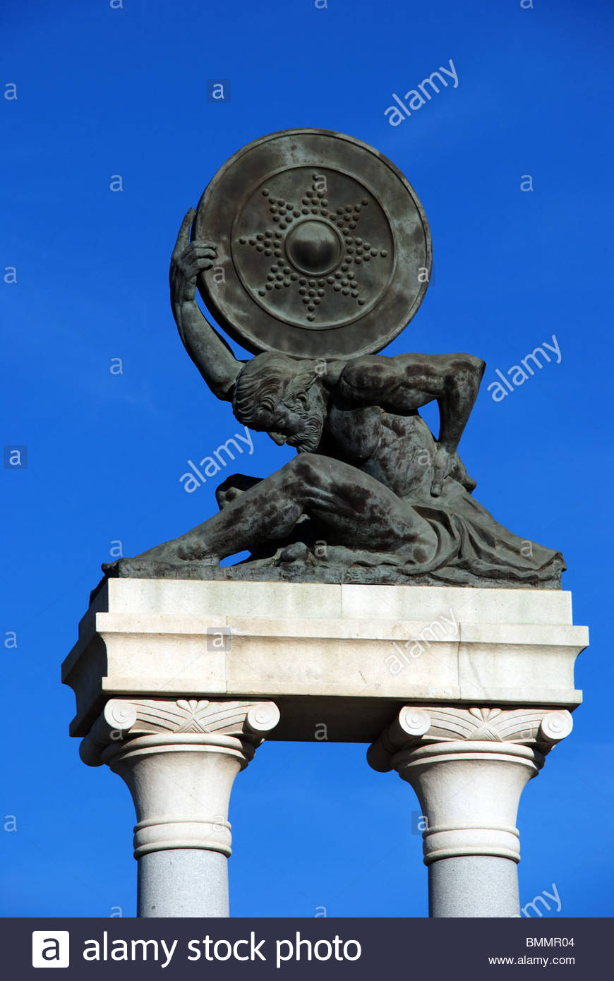 Monument of Hercules holding a shield, Ecija, Seville Province, Andalucia, Spain, Western Europe. - Stock Image