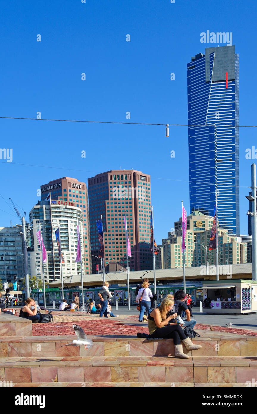 Melbourne Federation Square in Central Business District - Stock Image