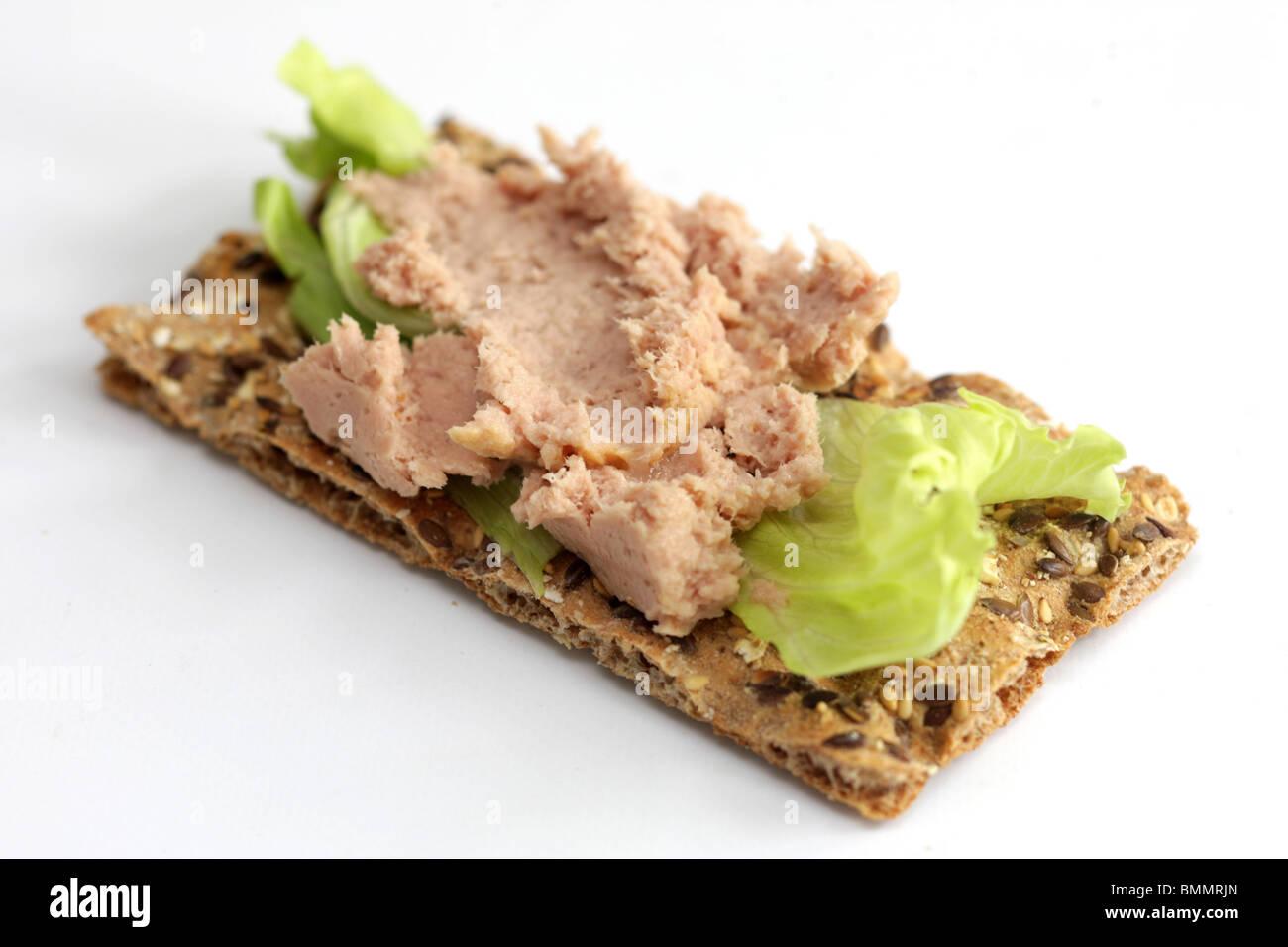 Tuna Pate on Ryvita Crispbread - Stock Image