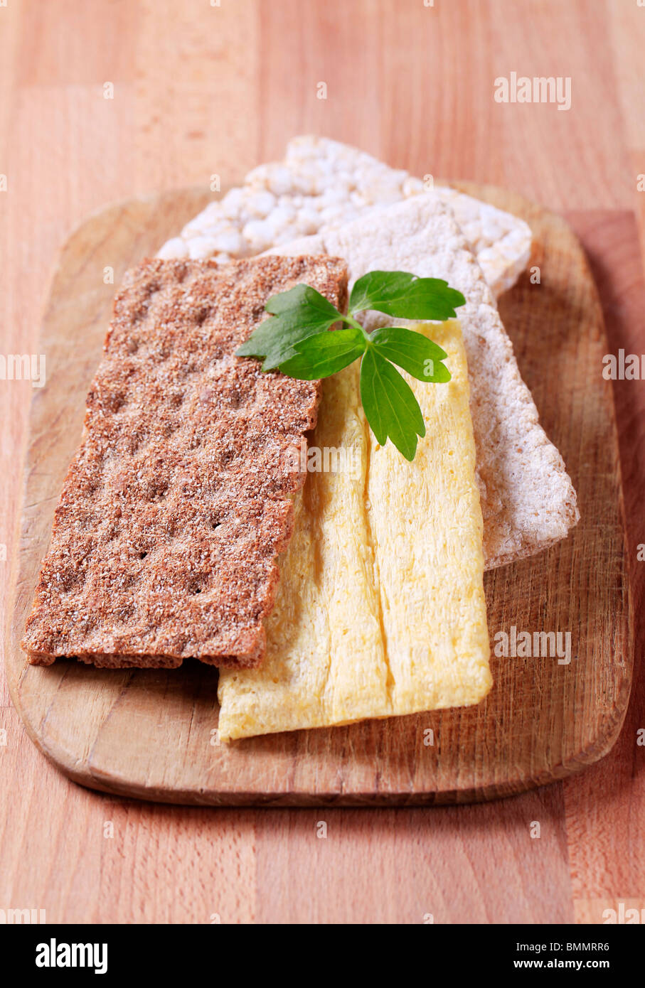 Various kinds of crisp bread - Stock Image