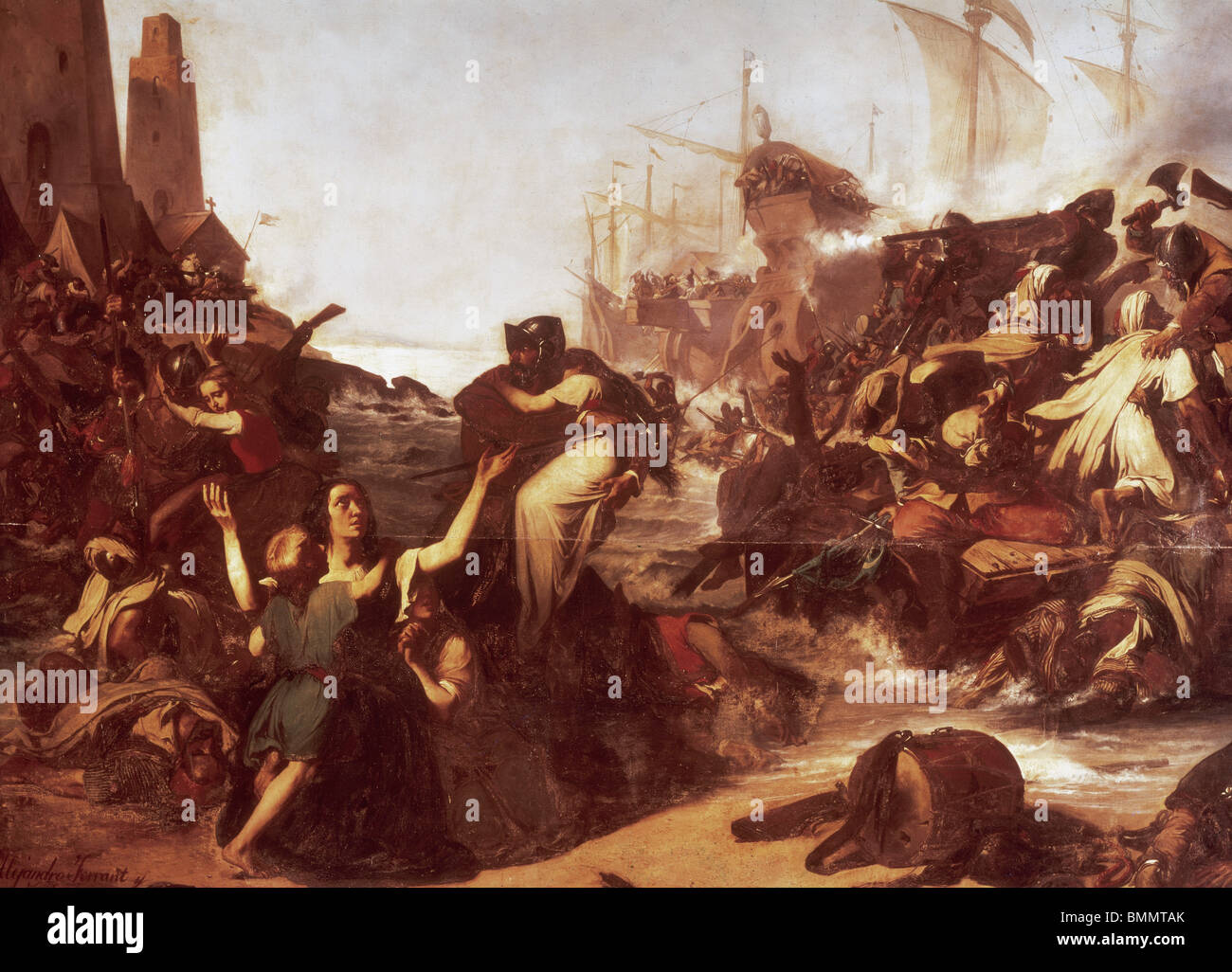 Action of weapons of Cadiz against the Moors in 1574. Barbary pirates on the Torregorda beach by Alejandro Ferrant - Stock Image