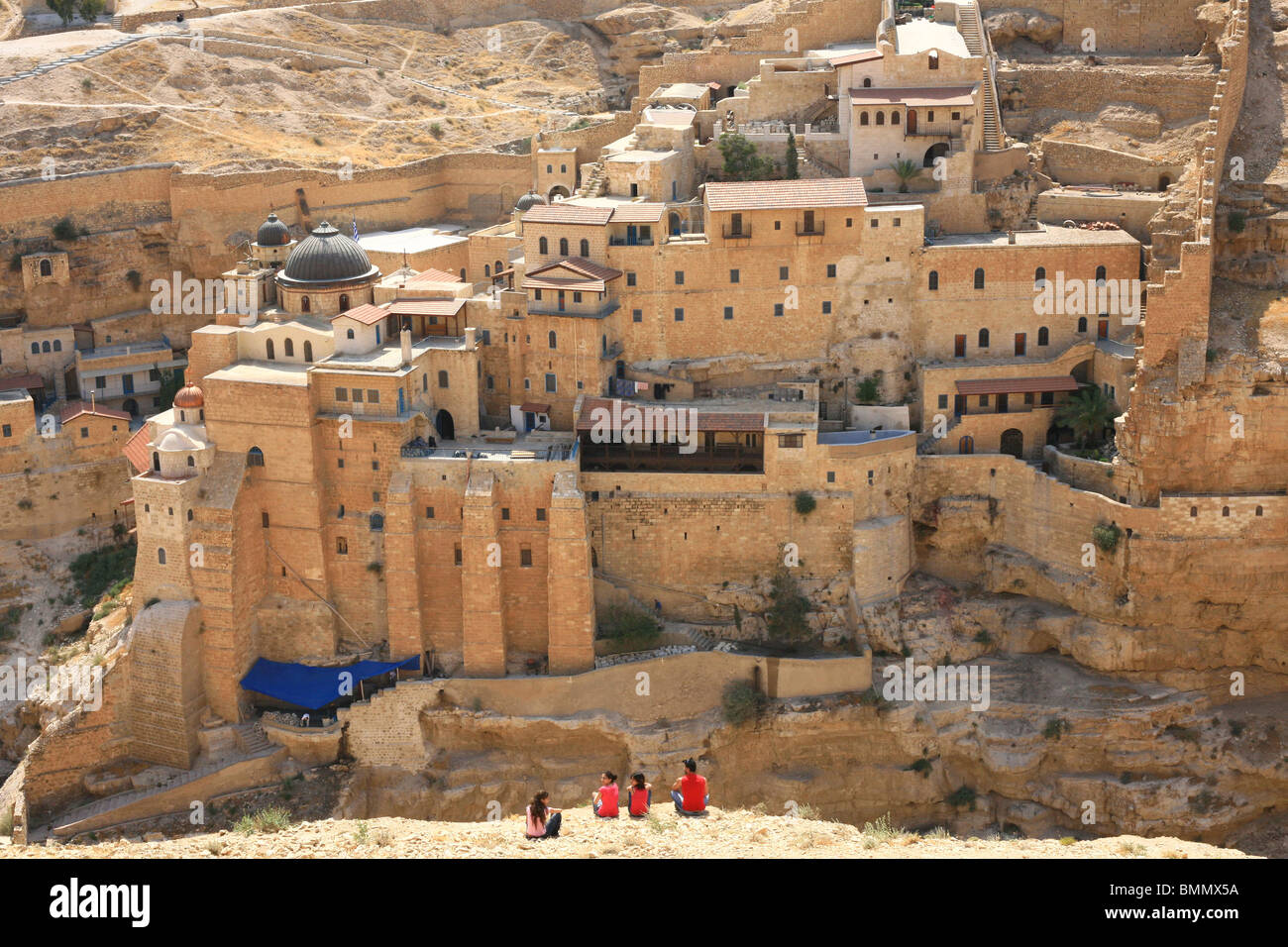Israel, Judaea Desert, Wadi Kidron, The Great Lavra of St. Sabas (also Mar Saba) - Stock Image