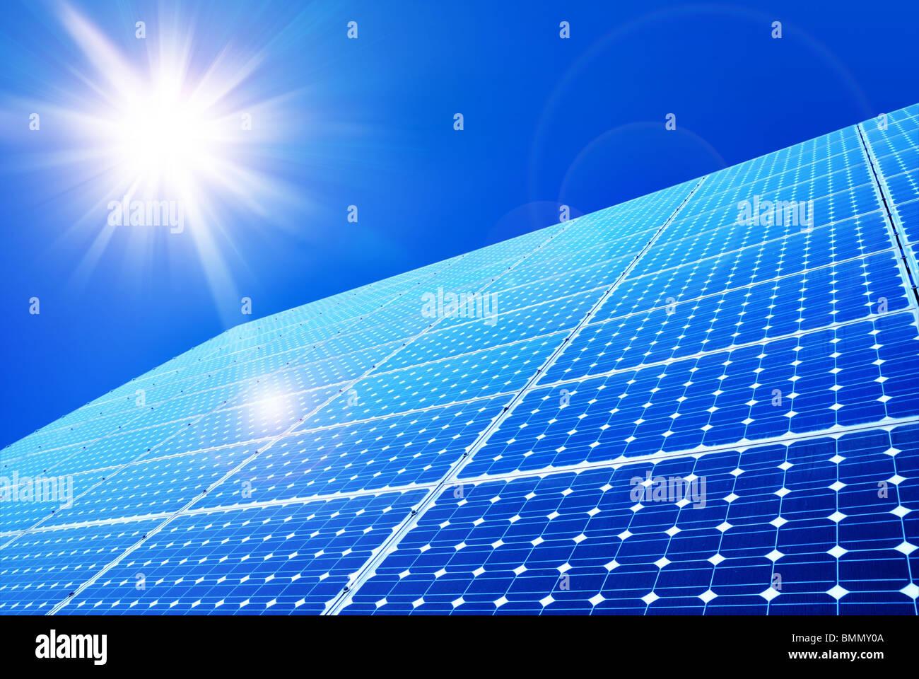Solar panel against blue sky - Stock Image