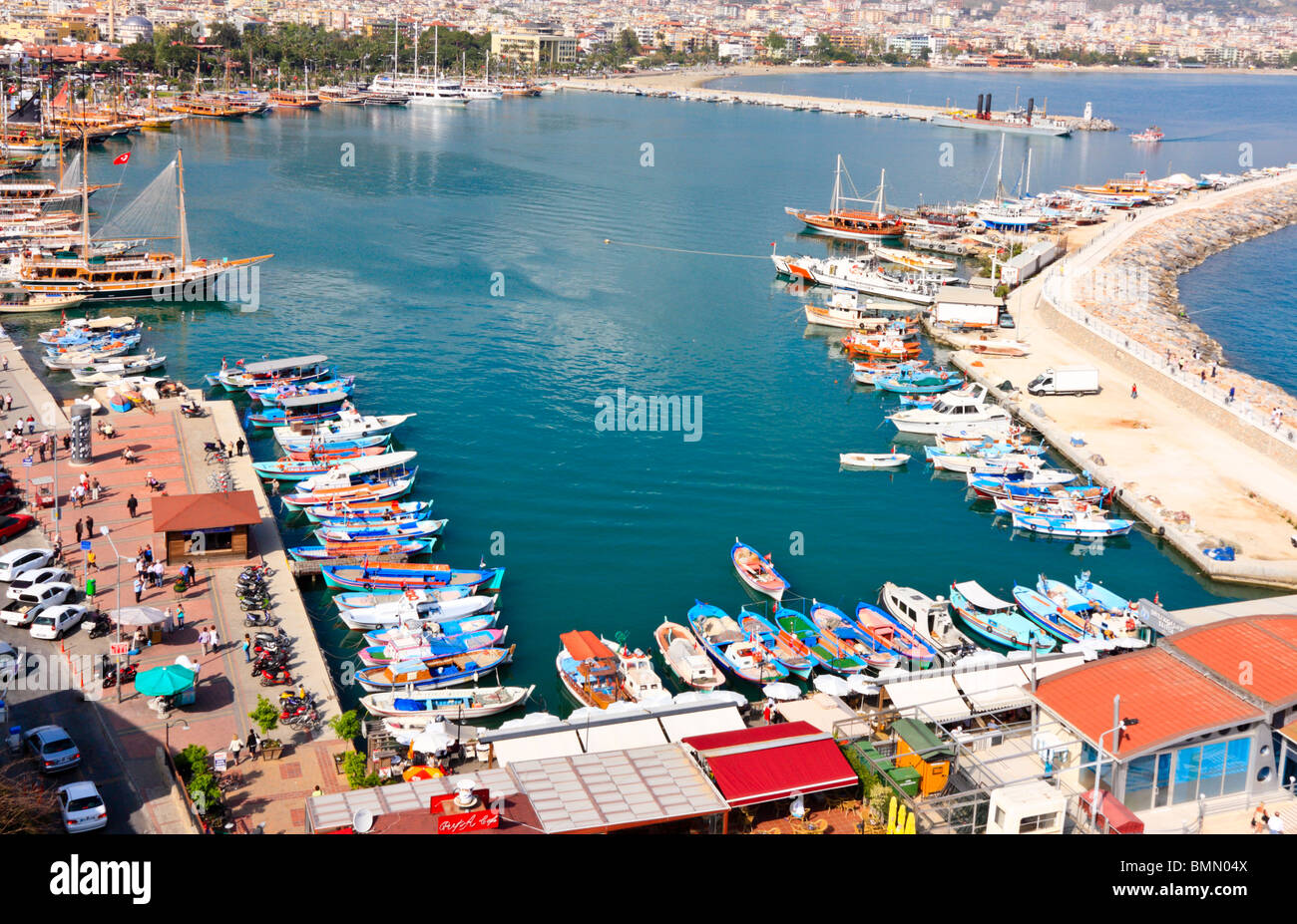 Aerial View of the Harbour, Alanya, Turkey - Stock Image