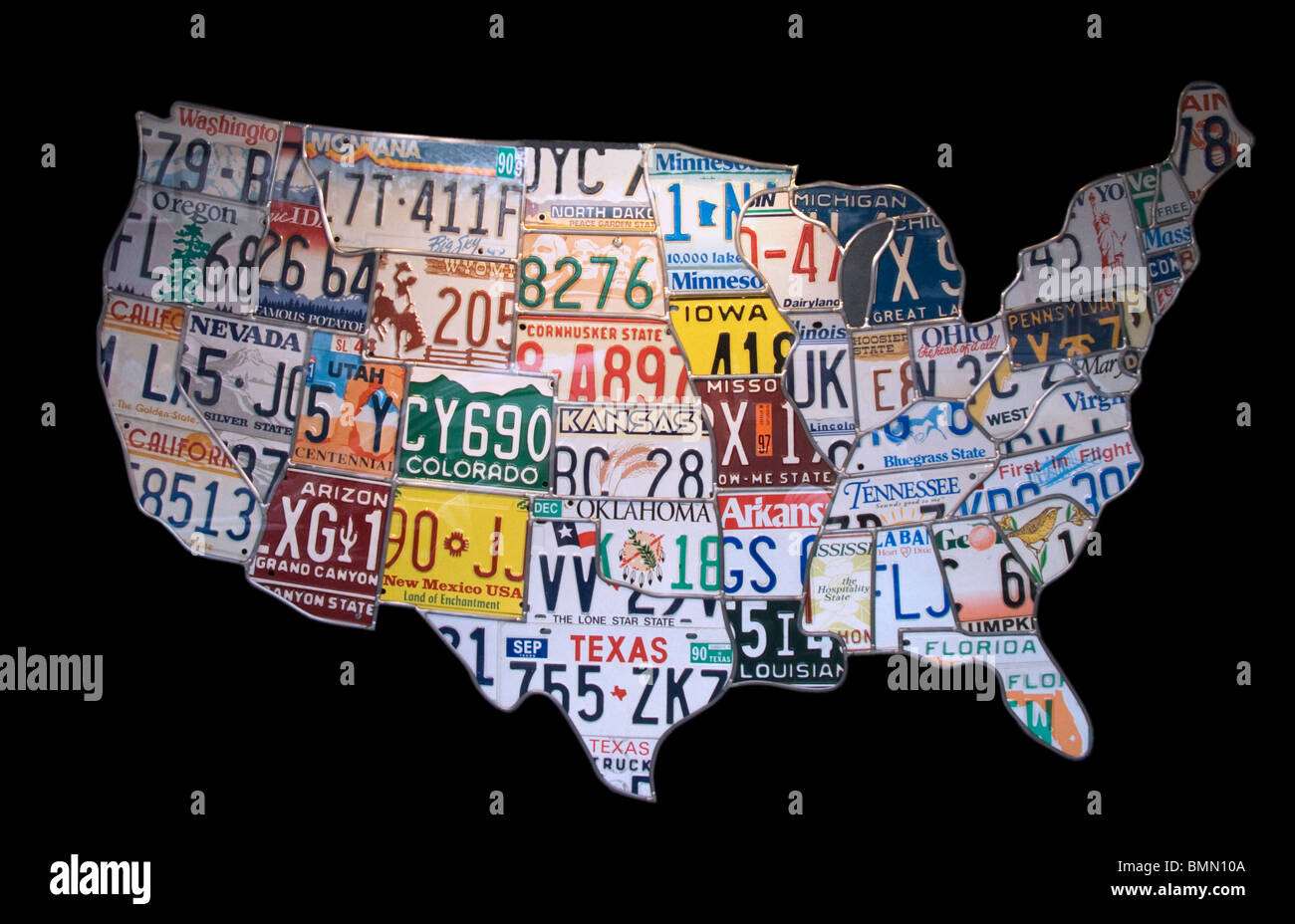 License Plate State Map.A United States Map Built With Car License Plates From Each State