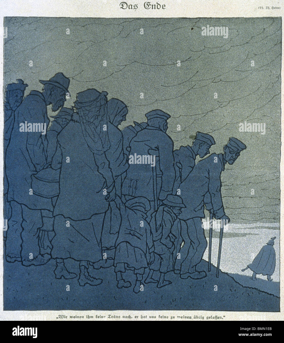 First World War. 'The End.' Th.Heine cartoon published in the magazine 'Simplicissimus' (1918) on - Stock Image