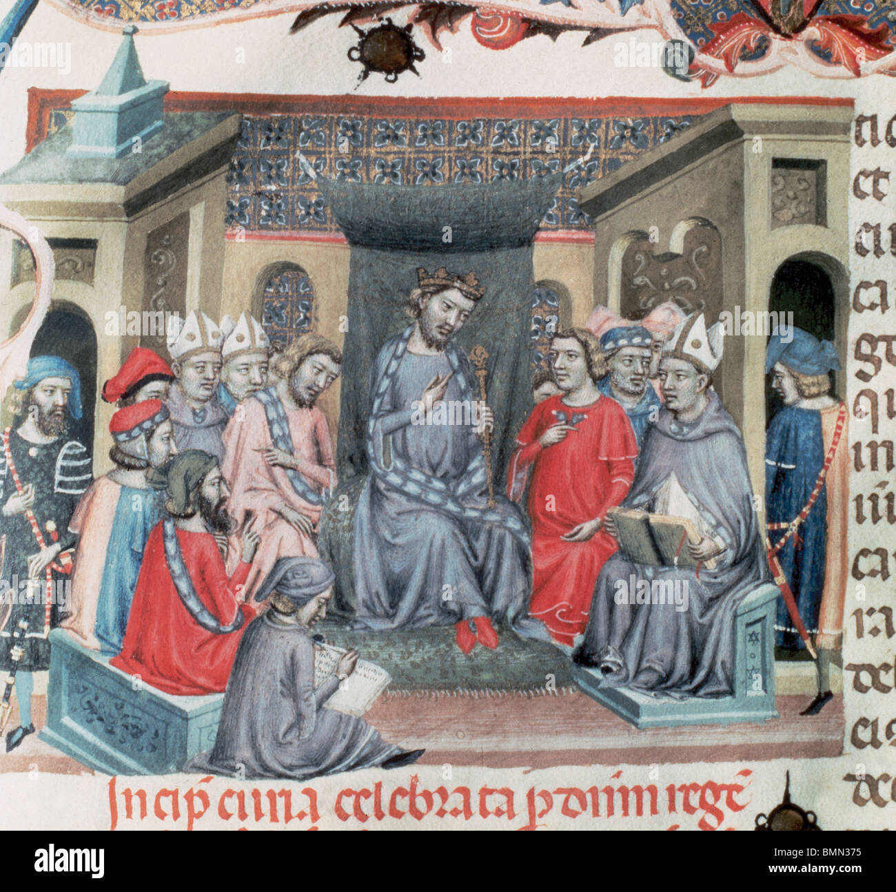 Alfonso IV of Aragon  (1299-1336). Codex of the Usages. Catalan Parliament assembled in Montblanc on 18 June, 1333. Stock Photo