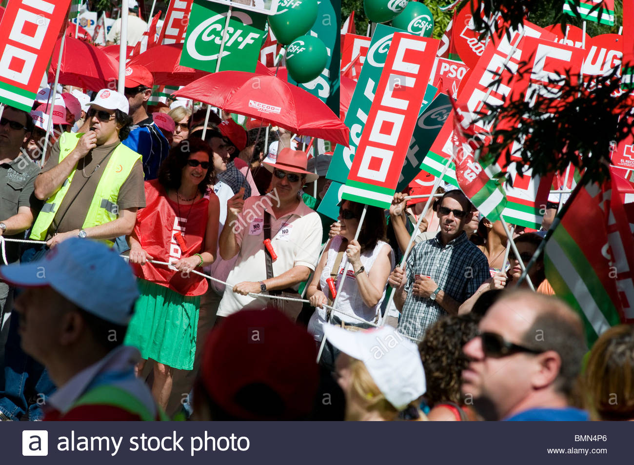 Nationwide strike by spanish civil servants in protest against the government's austerity plan (salary cuts, - Stock Image