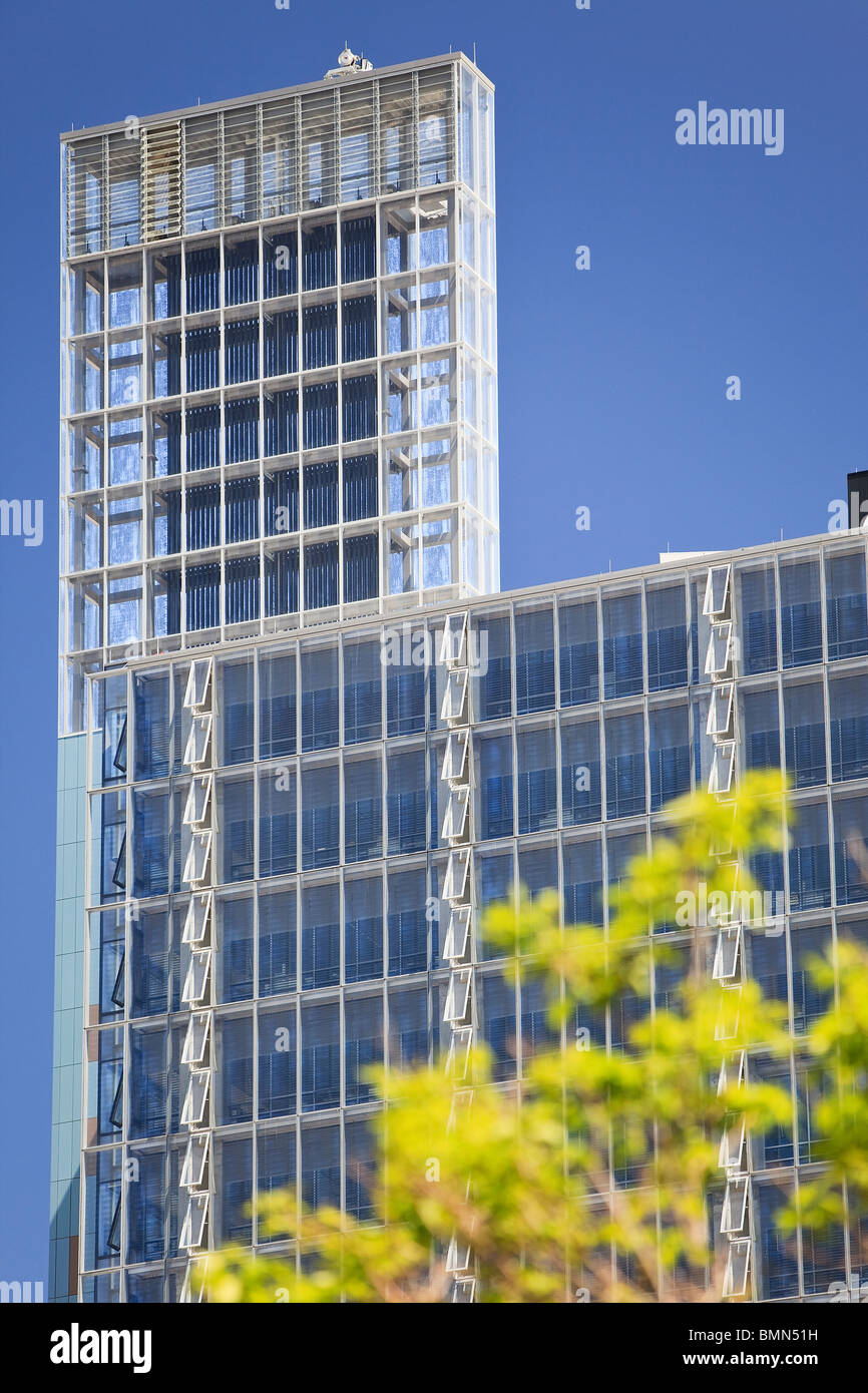 Solar chimney and open windows on Manitoba Hydro Place.  One of the world's most environmentally friendly office - Stock Image
