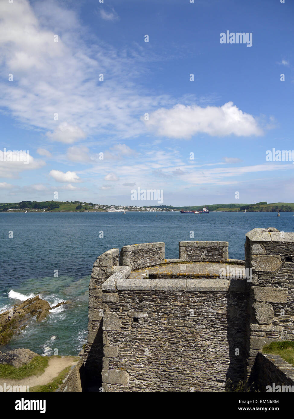 Pendennis head Falmouth view to St. Mawes and Carrick Roads Stock Photo