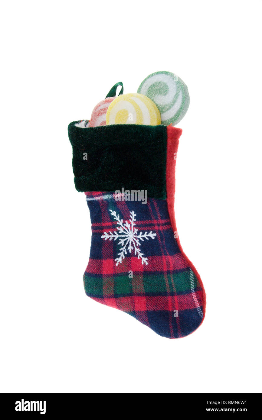 red green and blue plaid christmas stocking with swirl lollipops on white with copyspace - Blue Christmas Stockings