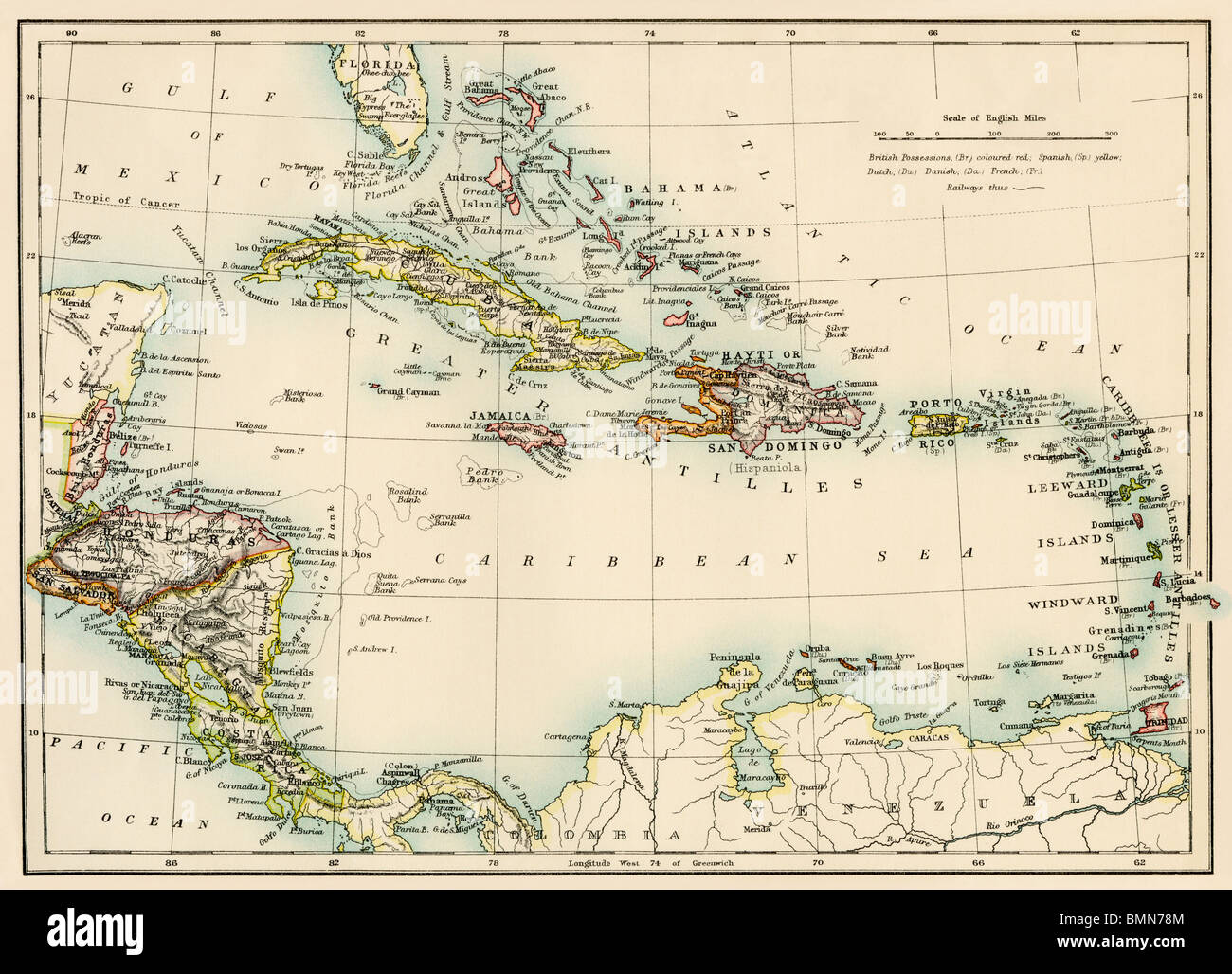 Map of the West Indies and the Caribbean Sea, 1800s. Color ...