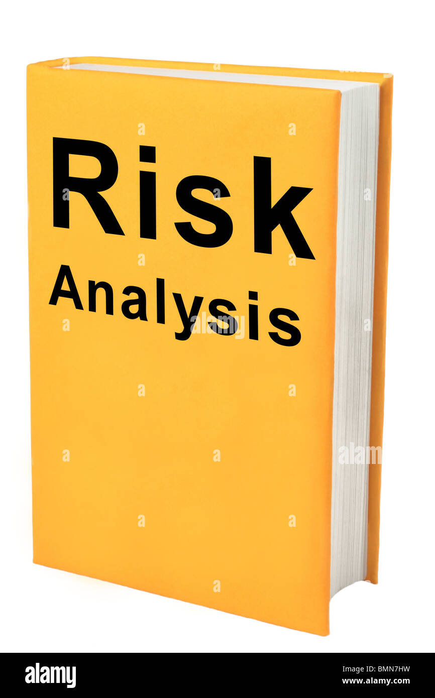Book with words Risk Analysis on yellow cover. - Stock Image