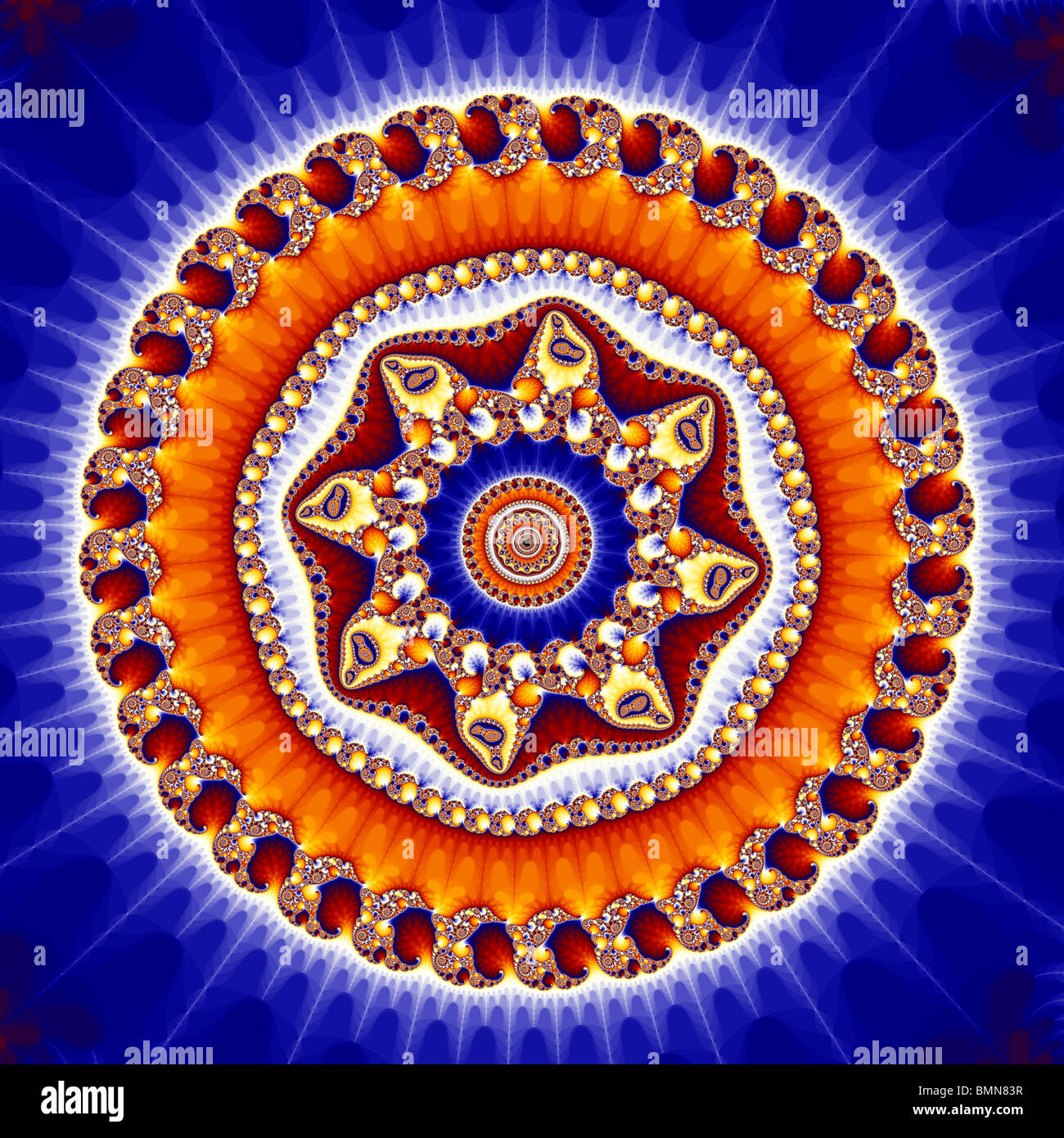 The Mandelbrot Set contains an infinite number of smaller copies of itself, surrounded by complex patterns. - Stock Image