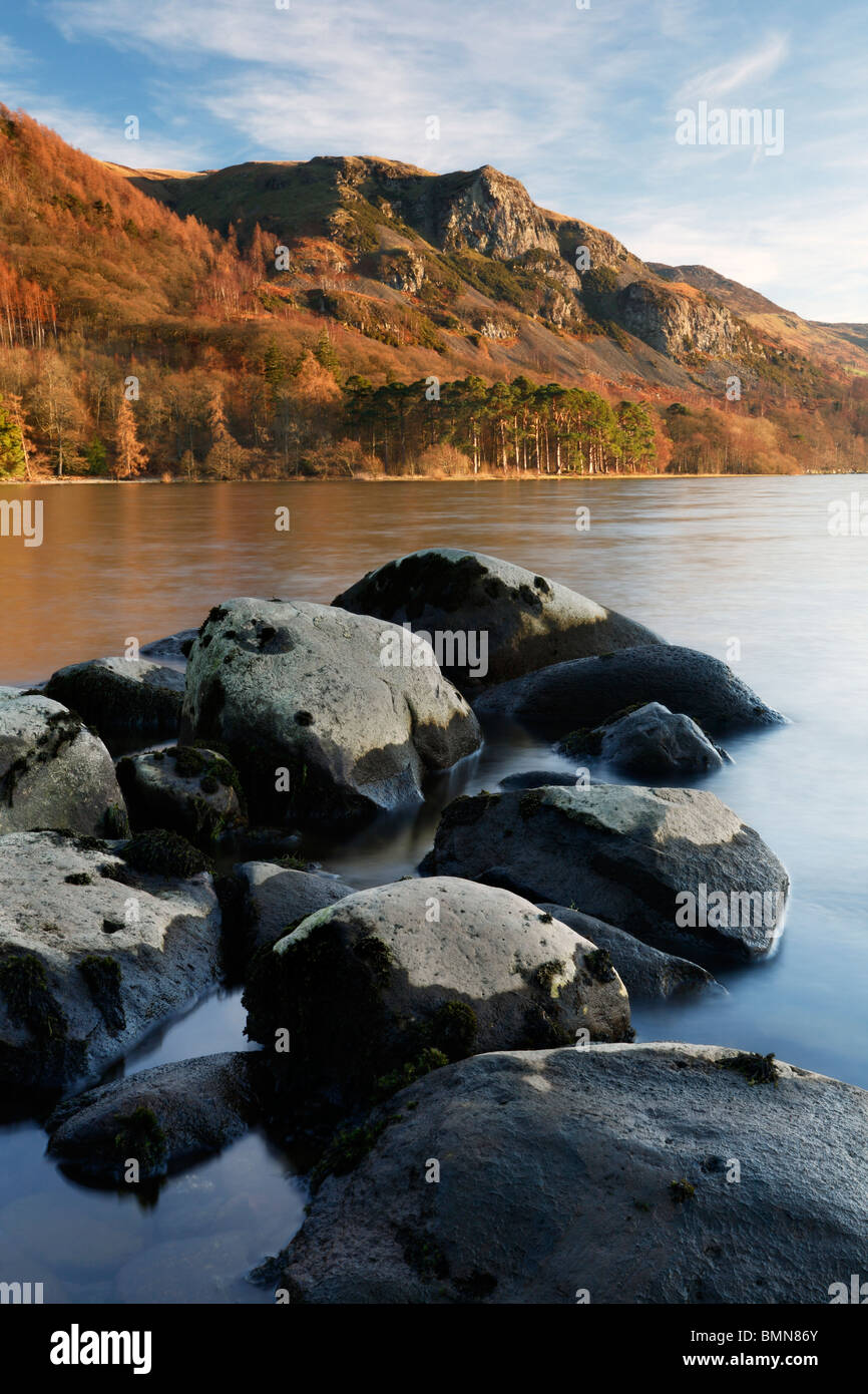 View of Falcon Crag across Derwent Water near Keswick in the Lake District of England - Stock Image