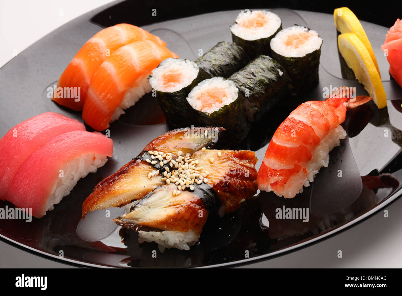 set of Japanese sushi on a plate - Stock Image