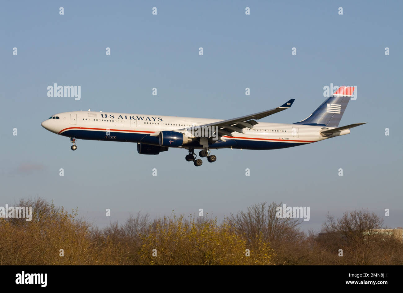 US Airways Airbus A330-323X landing at London Heathrow - Stock Image
