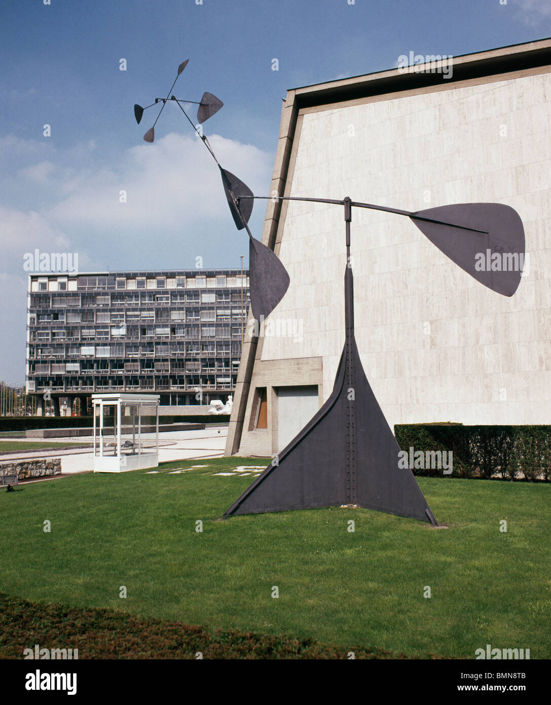 Spiral 1958 mobile by Alexander Calder at Unesco House, Paris, France. Buildings designed by Breuer, Nervi and Zehrfuss. - Stock Image