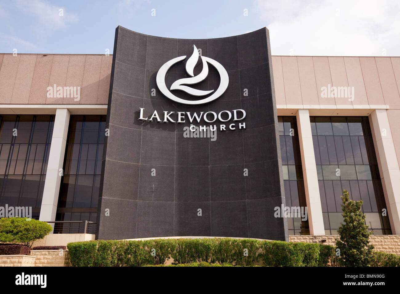The exterior building of the Joel Osteen Ministries mega church, Lakewood Church in Houston, Texas, USA. - Stock Image