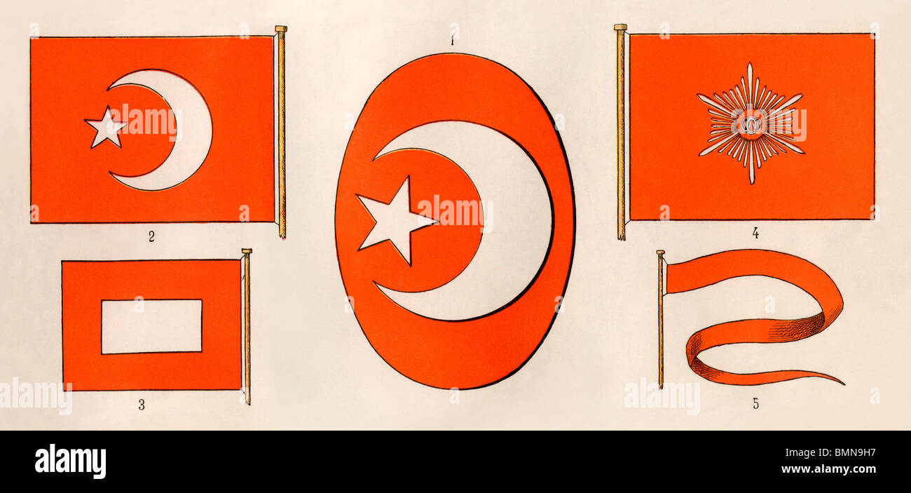 Coat Of Arms Center Flag Left And Insignia Of The Sultan Of